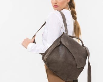 Brown leather backpack, Brown leather rucksack,  Leather medium backpack, brown backpack ,Designer leather backpack