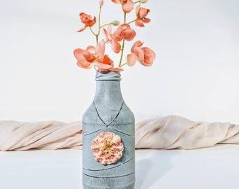 Handmade rustic vase/ Gray and black vase/ Faux stone vase/ Antique vase/ Vintage vase/ Handmade antique vase/ Handmade vintage vase