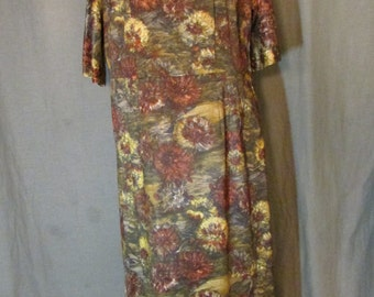 1950s Brown Burgundy Carnation Nylon Print Knit Dress by Westover Walker 16-18 XL Extra Large