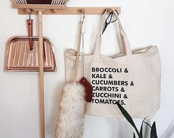 Tote Bag, Canvas Tote Bag, Vegetarian, Market Tote, Farmers Market Bag, Veggie Bag, Tote Bags, Food Bag, Buy Local, Vegan, Grocery Bag