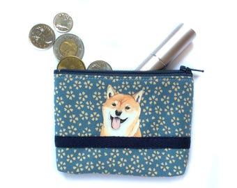 Shiba Inu Coin purse, Dog lover, Change purse, Zipper pouch, Small card case, Fabric pouch, Dog gift, Sakura pattern fabric