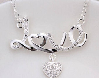 Silver Love Necklace with Rhinestone Heart