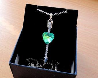 Swarovski Crystal Heart Love necklace pendant jewelry charm amulet Birthday gift for her Cubic Zirconia CZ Silver love Valentine Pendant