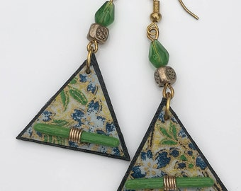 Decoupage Blue and Green Drop Earrings