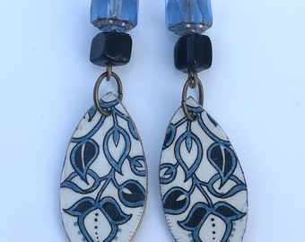 Decoupage Egg Carton Recycled Earrings