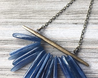 Kyanite Pendant Necklace // Long Necklace // Modern Necklace // Natural Stone Necklace // Boho Necklace // Gift for Her // Handmade