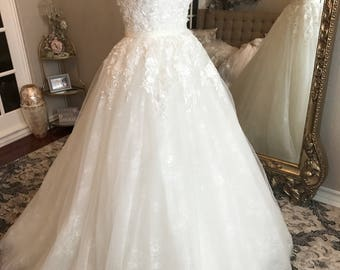 Unique Lace beaded Wedding dress, Floral A-line wedding dress, unique wedding dress, ball gown, lace wedding dress, sweetheart, sleeveless