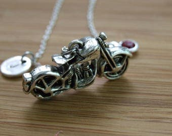 Bike Life, Motorcycle Necklace, Motorcycle Jewelry, Bike Initial Necklace, Bike Jewelry, Bike Lover Gift, Bikers Wife Necklace, Personalized
