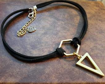 Black Choker, Black Choker Necklace, Black Suede Choker, Choker Necklace, Gold Pendant Necklace, Leather Necklace, Leather Choker, Chokers