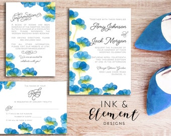Spring Wedding Invitations, backyard wedding, blue wedding invitations, watercolor wedding invitations, wedding invitations printed