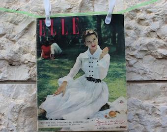 Vintage ELLE magazine France 30 July 1951  // Vintage ELLE 1951 // Vintage ELLE // Vintage magazine //50s