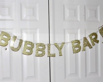 Bubbly Bar Banner - Sparkly Gold - Clinking Champagne Flutes - Champagne Bar - Mimosa Bar