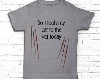 Funny Cat T-shirt for Men - Vet Shirt for Him - Cat Tee - Cat Lover Gift -  Cat Scratch T-shirt