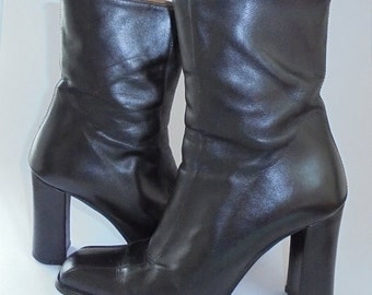 Ladies Ankle Boots, Vintage Ladies Boots, Black Leather Boots, Italian Leather Boots, 90's Ladies Boots