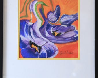 Iris Flower Pastel Painting, Pastel Painting, Framed Painting Orange and Purple, Abstract Flower Painting, Framed Iris Painting, Iris Pastel