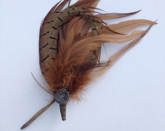 Feather hair clip; feather corsage; feather brooch;  hair accessory; feather accessory;