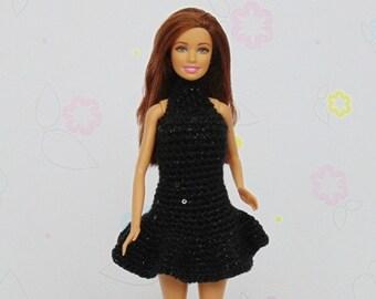 Barbie doll clothes, barbie clothes, barbie dress, doll clothes, doll dress, barbie crochet, fashion doll, barbie, black, barbie fashion