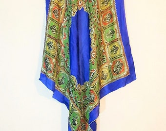 Vintage Silk Boho Handkerchief Floral Hipster Scarf Wrap Shawl Wrap- Royal Blue Multi Color Retro Square Bandana Scarf COACHELLA Festival