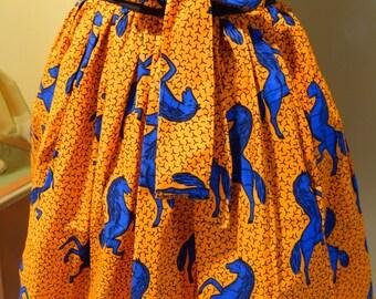 Summer Skirts, African Skirts, Orange Skirts, Short Skirt, Ankara Skirt, Midi Skirt, Elastic Waist Skirt