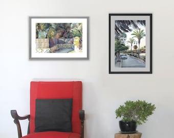 Set of 2 Prints, Landscape Watercolor Painting, Palm Tree Print, Art Prints Set, Watercolour Painting prints, Wall Art Prints, Aquarelle