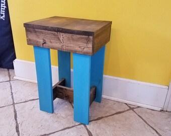 reclaimed pallet stool, rustic pallet stool, wood stool, dark walnut stool, one of a kind pallet stool, reclaimed wood stool