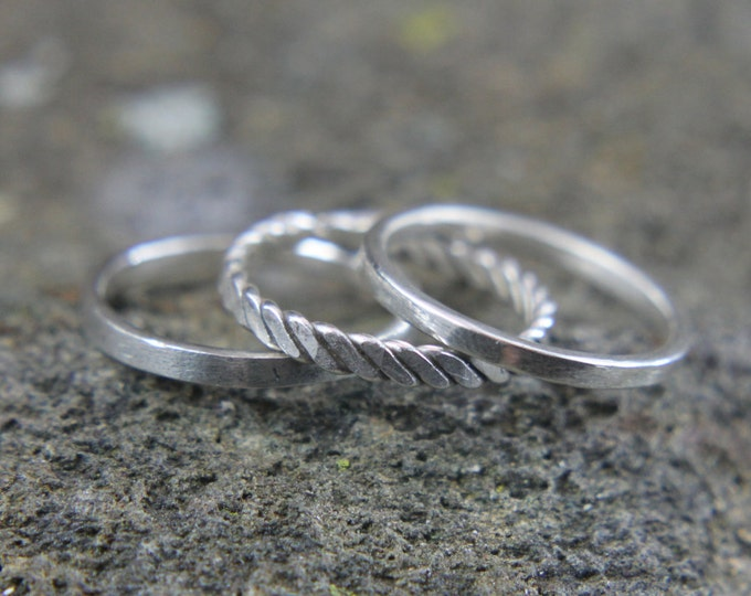 Stackable Sterling Silver Ring, Thin Simple Band, Twisted and Hammered Ring, Gift for Him or Her, Size 4 to 15, Mens or Ladies Jewelry
