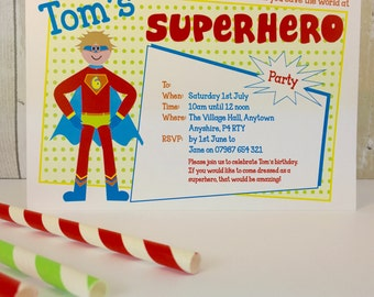 Pack of 16 Superhero Personalised Party Invites or Thank You Cards
