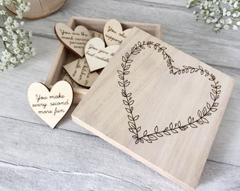 10 Things I love About You - Reasons I Love You - Romantic Gift - Wooden Heart Box - Anniversary Gift - 5th Anniversary - Gift for Wife