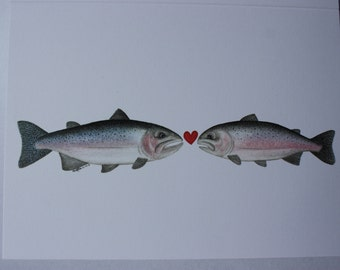"Watercolour ""Cuddlefish"" Greeting Card (Blank) #4 - Fly Fishing Series - Steelhead & Rainbow Trout"