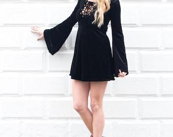 Velvet dress, black velvet dress, velvet lace up dress, black velvet lace up dress, velvet mini dress, black dress, lace up mini dress