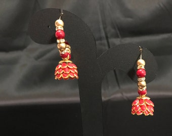 Indian Jewelry - Flower Jhumki Earrings - Jhumka Earrings - Temple Jewelry - Red Jhumki Earrings - Pakistani Earrings - Desi Jewelry -