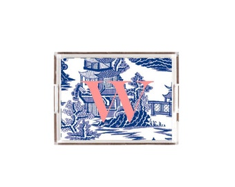 Lucite Tray/ Acrylic Tray Monogrammed Blue and White Chinoiserie  Tray/Platter organizer catchall Home Decor in two sizes 8.5x11 or 11x17