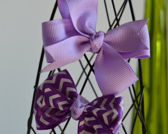 Purple, Lavender, Non-Slip Baby Bows, Girl Bows, Hair Bows, Alligator Clips, Ribbons, Hand made, Chevron