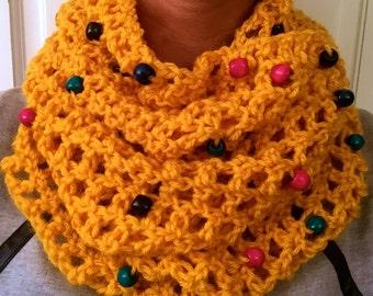 Wooden Bead Accent Mustard Crochet Infinity Scarf