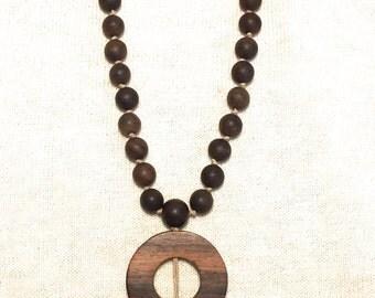 Sandal wood, gypsy, Bohemian style tassel necklace