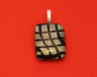 Silver and Black Dichroic Glass Pendant