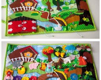 Baby Play Mat-Felt Play Mat-Travel toy-Farm toys-Big Developing Play Mat-FarmFrenzy-Activity-Sensory Toys-Quiet Time Mat-Quiet Book-Babytoys