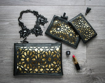 Lot of three pouches - pattern zellige - black and gold