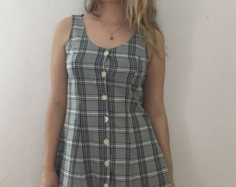 Vintage 1990's Grey Plaid Front Button-Up A-line Dress