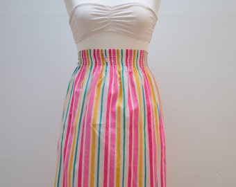 Vintage 1960s Candystripe Pleated Skirt Long Pink Turquoise Yellow White Stripes Striped Elasticated High Waist Elegant Dryndl Summer Light