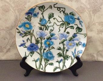 Blue Floral Decorative Plate - Andrea of Sadek