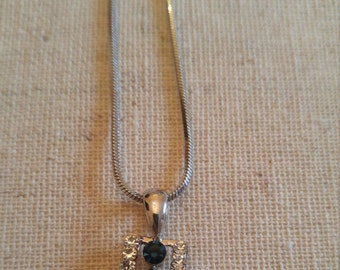 Faux Sapphire/Diamond Necklace