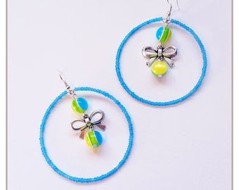 """Rainbow Collection"" blue earrings"