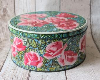 Beautiful Retro Floral Large Round Tin - Retro Decor