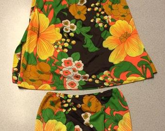 Vintage 1960's Women's Sea Stars By Sears Bathing Suit Retro Floral VTG Size 12