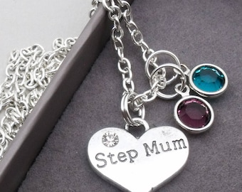 Step mum double birthstone charm necklace | step mum pendant | personalised step mum necklace | step mum jewelry | stepmother gift