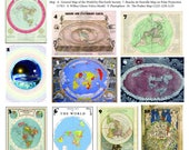 Flat Earth Map Collection 10 X A3 Posters on thick 350gsm paper