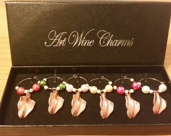 Set of 6 Rose Gold Leaf Twist Wine Glass Charms