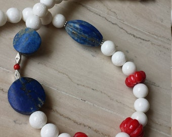 Coral and Lapis Lazuli, Handmade necklace