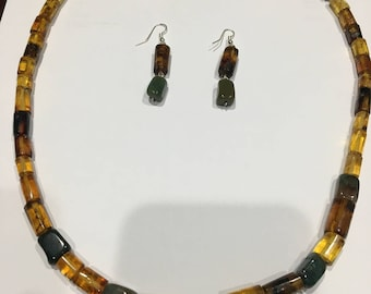 Hand Crafted Mexican Amber and Jade Necklace and Earring Set